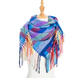 New loop yarn striped Plaid polyester long tassel scarf scarf for women and men 110cm long