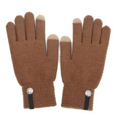 Мужские вязаные теплые перчатки, женские зимние очень толстые нескользящие шерстяные перчатки с сенсорным экраном на заказ
