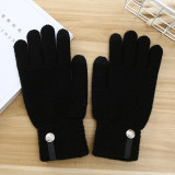 Man Knitted warm gloves women's winter extra thick anti slip wool outdoor custom touch screen gloves