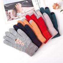 ニット暖かい手袋女性の冬の極厚滑り止めウール屋外カスタムタッチスクリーン手袋