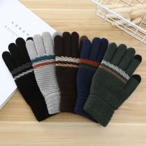 男性ニット暖かい手袋女性の冬の極厚滑り止めウール屋外カスタムタッチスクリーン手袋