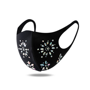 MOQ10 Rhinestone breathable, male and female masks are adjustable, ear buttons are dustproof, breathable and washable