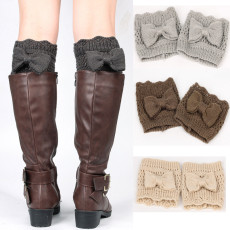 Women's knitting hosiery bow hollowed leg protector short sweater boot cover