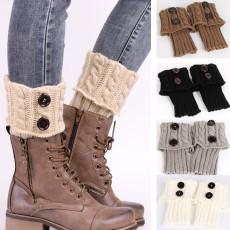 Couvre-bottes de chandail court de protection de jambe évidée de bonneterie de tricot pour femmes