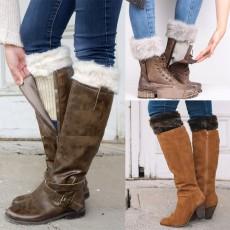 Couvre-bottes en laine, chaussettes chaudes, couvre-jambes en laine de Noël, couvre-chaussures court en laine