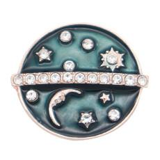 Aleación de oro rosa con broche de símbolo de 20 mm chapado con diamantes de imitación encantos broches de presión joyería