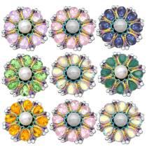 Оснастка дизайна 20 мм Цветной сплав, покрытый стразами, очаровывает, защелкивается
