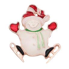 Encantos chapados en aleación de oro rosa con broche navideño de 20 mm broches de presión joyería
