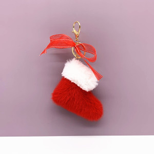 MOQ10 Christmas 9*10CM  boots key chain cute bow bag pendant cartoon Plush gift