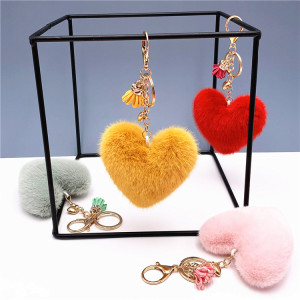 MOQ10 Tassel 8.5*9.5CM love key chain lovely bag Pendant Heart Shape Plush Key Chain Pendant Gift