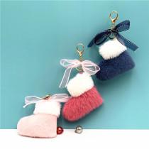 MOQ10 Noël 9 * 10CM bottes porte-clés mignon arc sac pendentif dessin animé cadeau en peluche