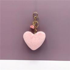 MOQ10 borla 8.5 * 9.5 CM amor llavero encantador bolso colgante en forma de corazón felpa llavero colgante regalo