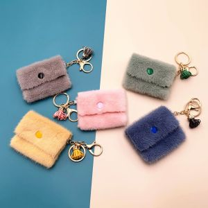 MOQ10 Mini 9*7CM Wallet Key Chain candy color lovely coin key bag pendant data line storage bag key chain