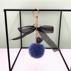 MOQ10 cheveux 4.8CM boule arc porte-clés en peluche pendentif voiture porte-clés cadeau