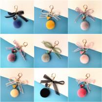 MOQ10 Hair 4.8CM ball Bow Key Chain Plush pendant car key chain gift