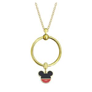 Neue Edelstahl Gold Kreis Halskette Kette 45CM