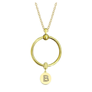 Neue Edelstahl Gold Kreis Halskette Set Kette 45CM
