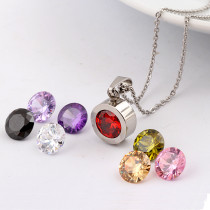 DIY changeable 8 colors zircon Stainless Steel Necklace 45CM