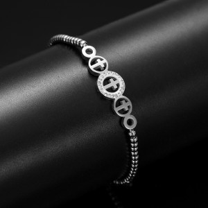 Adjustable length Stainless Steel Cross Bracelet with zircon