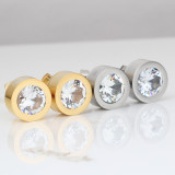 Stainless steel zircon plated earrings with replaceable color diamond earrings