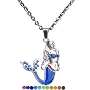 Heat sensitive and color changing necklace with blue rhinestone tail Mermaid Necklace
