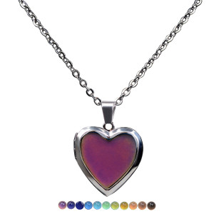 Temperature sensitive mood color changing Necklace love photo box mood color changing Stainless Steel Necklace