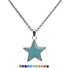 Collier en acier inoxydable avec pendentif pentagramme sensible à la température et changeant de couleur