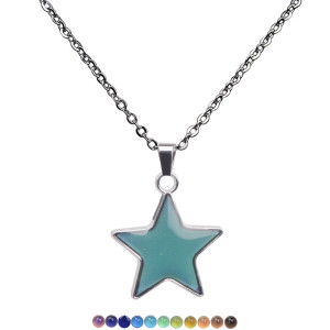 Temperature sensitive and color changing Pentagram Pendant Stainless Steel Necklace