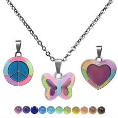 Papillon lumineux fluorescent amour paix pendentif sensible à la température humeur changement de couleur collier en acier inoxydable
