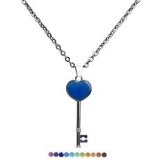 Pendentif en acier inoxydable avec pendentif à changement de couleur et humeur chaude clé coeur pêche