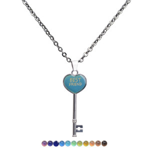 Peach heart key warm mood color changing Pendant Stainless Steel Necklace