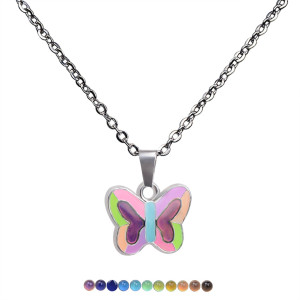 Fluorescent luminous butterfly love peace pendant temperature sensitive mood color changing Stainless Steel Necklace