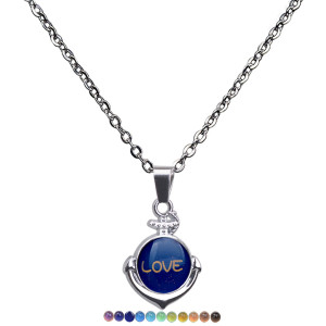 Anchor Pendant temperature sensitive mood color changing Necklace stainless steel Lovers Necklace