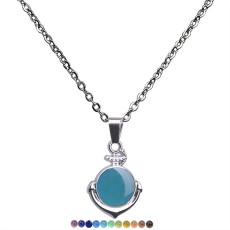 Pendentif ancre sensible à la température changement de couleur de l'humeur collier collier amoureux en acier inoxydable