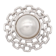 20MM pearl metal silver plated snap charms snaps jewelry