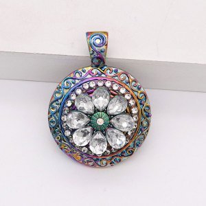 Colgante de aleación colorido apto para joyas de estilo a presión de 20 mm