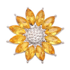 20MM Sunflower metal silver plated snap with rhinestone  charms snaps jewelry