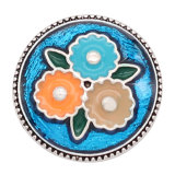 20MM flower metal silver plated snap with enamel  charms snaps jewelry