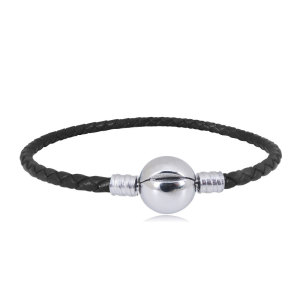 20CM New stainless steel Leather bead bracelet