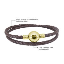 40CM New stainless steel Leather bead bracelet