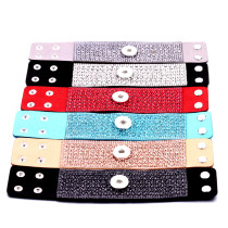 20CM 1 buttons leather with rhinestone new type Bracelet fit 20mm snaps chunks