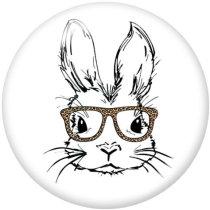 Botones a presión de vidrio con estampado de conejo de 20 mm