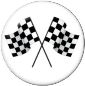 Botones a presión de vidrio de carrera de autos de 20 mm