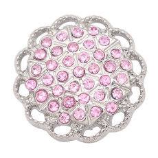 20MM designer metal silver plated snap with rhinestone  charms snaps jewelry