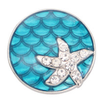 20MM Starfish metal silver plated snap with rhinestone  charms snaps jewelry