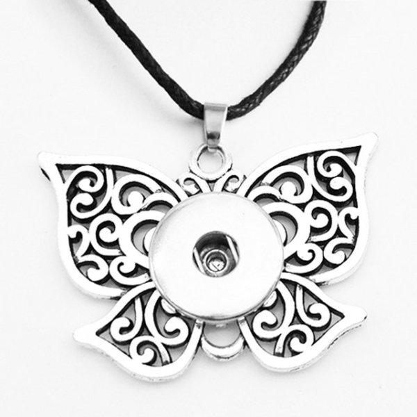 Halloween amour Fleur Papillon Croix Collier Argent Corde En Cuir Réglable Fit 20 MM Morceaux Snaps Bijoux