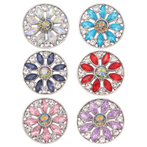 20MM flower metal silver plated snap with rhinestone  charms snaps jewelry