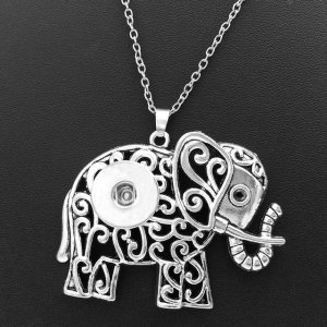 Halloween Flower Butterfly cross Elephant Christmas tree Necklace silver 60cm chain fit 20MM chunks snaps jewelry