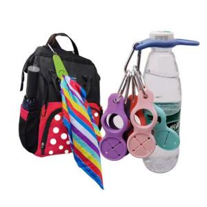 Fermoir de bouteille d'eau, fermoir portable en silicone, fermoir d'alpinisme, porte-clés foulard (Logo imprimable)