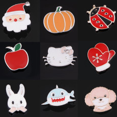 12MM Cartoon Design Metall versilbert Snap Charms Multicolor